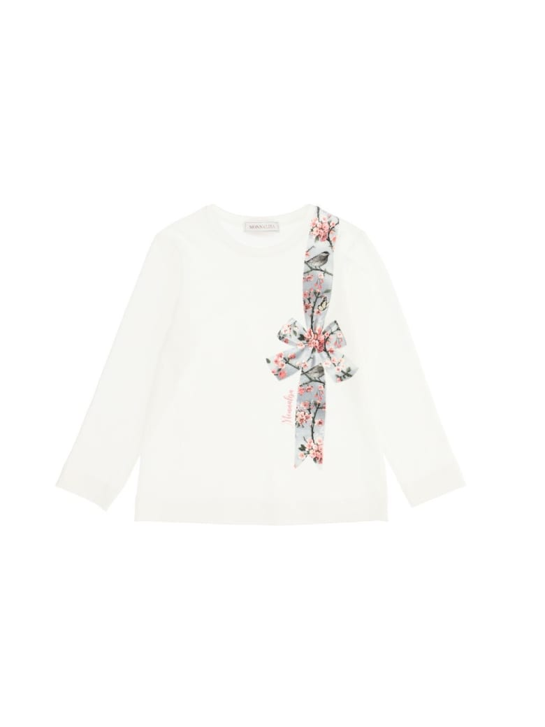 Monnalisa Jersey T-shirt With Bow Print - Beige