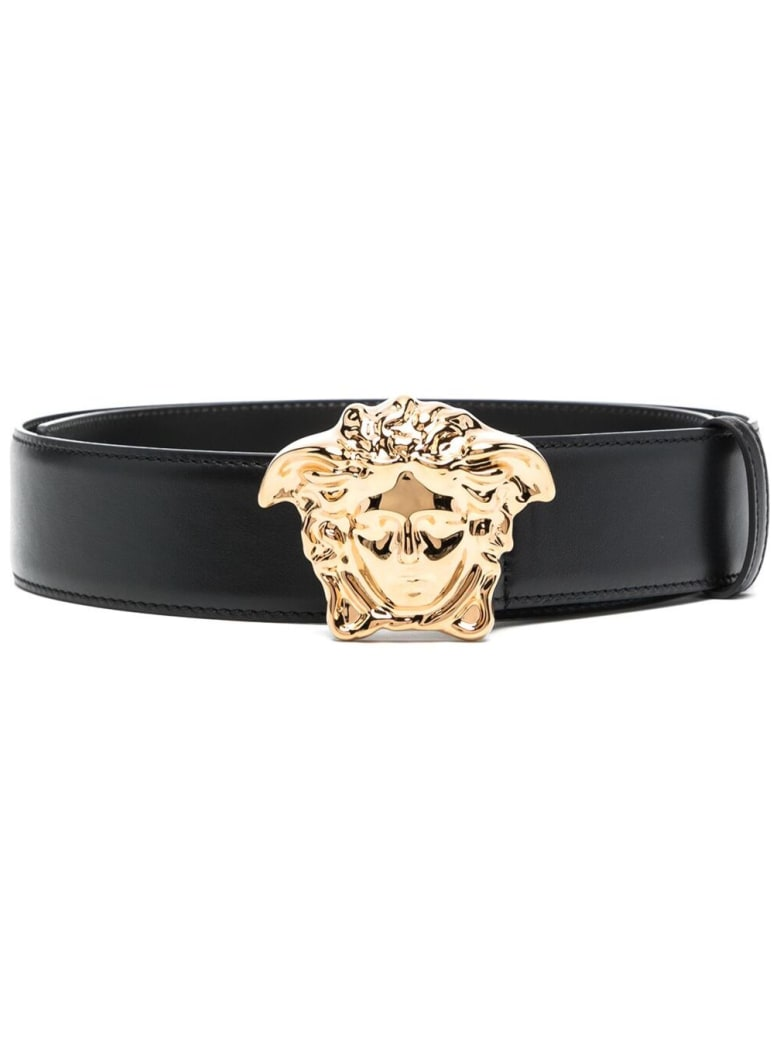 Versace Black Leather Belt With Logo Buckle - Black