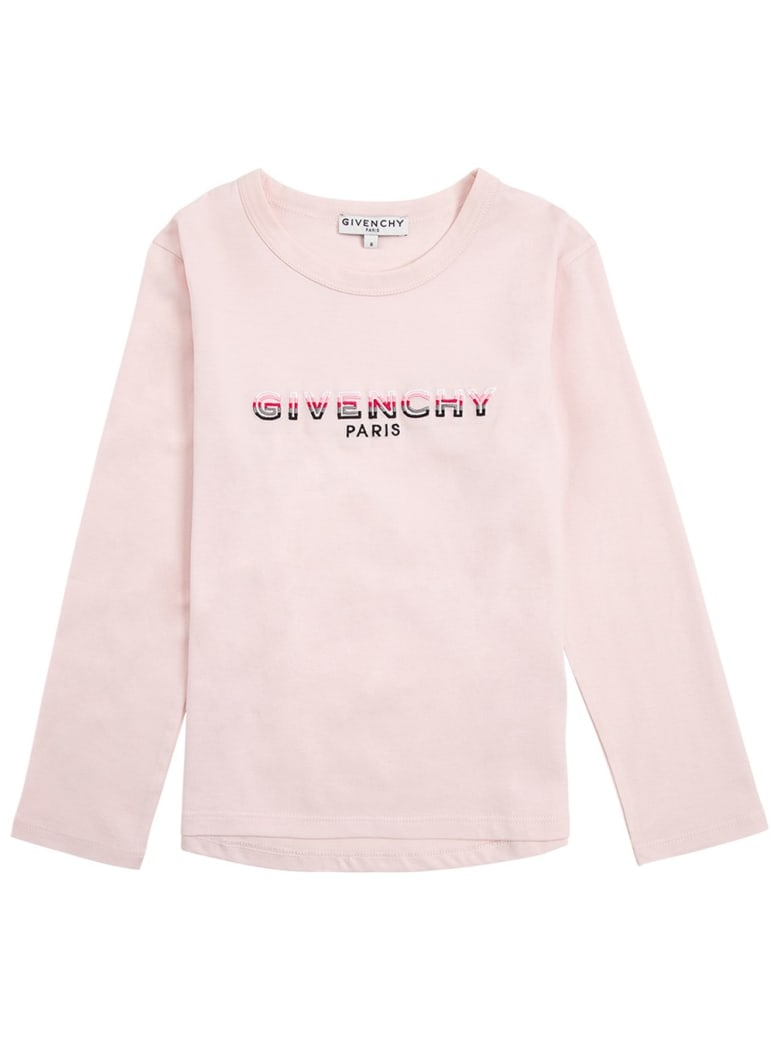 Givenchy Long-sleeved T-shirt In Pink Cotton With Logo Print - Pink