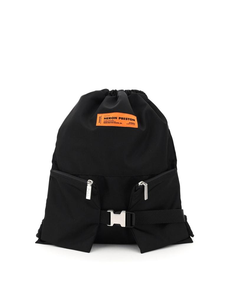 HERON PRESTON Gym Bag Nylon Backpack Sack - Nero