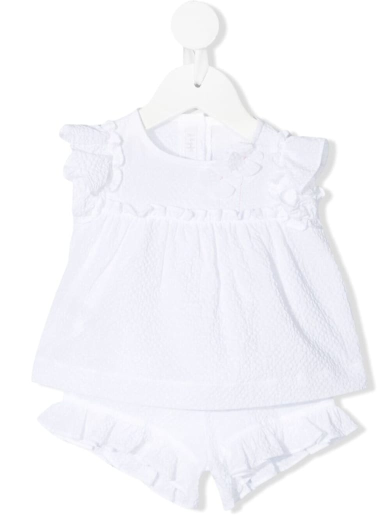 Il Gufo Newborn Two-piece Suit In White Cotton With Application - Bianco
