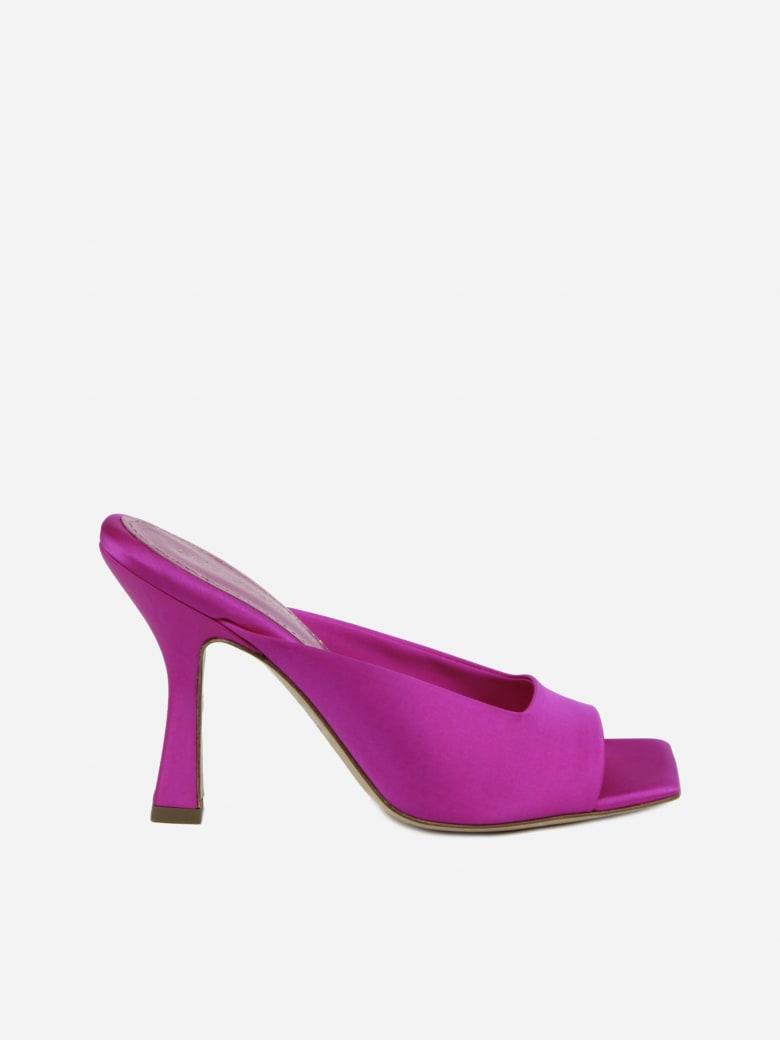 Aldo Castagna Square Heel Mules Made Of Satin - Fucsia