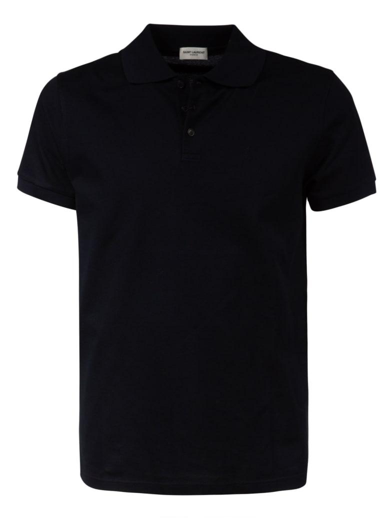 Saint Laurent Logo Embroidered Polo Shirt - Black