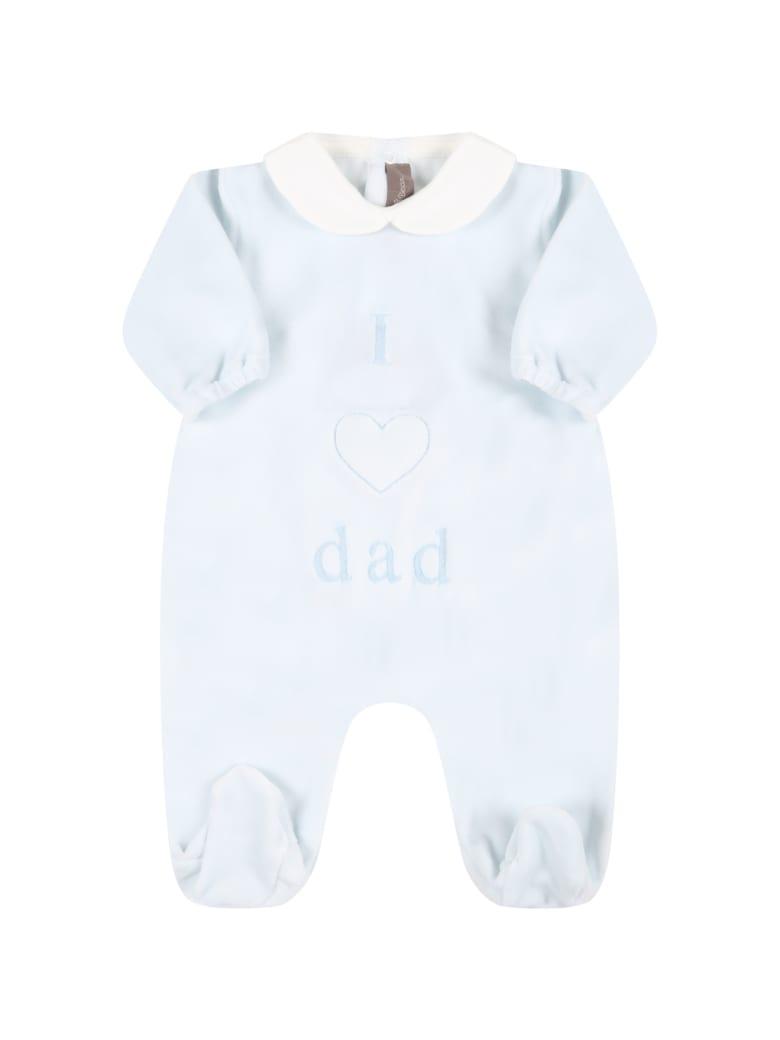 Little Bear Light Blue Babygrow For Baby Boy With Writing - Light Blue