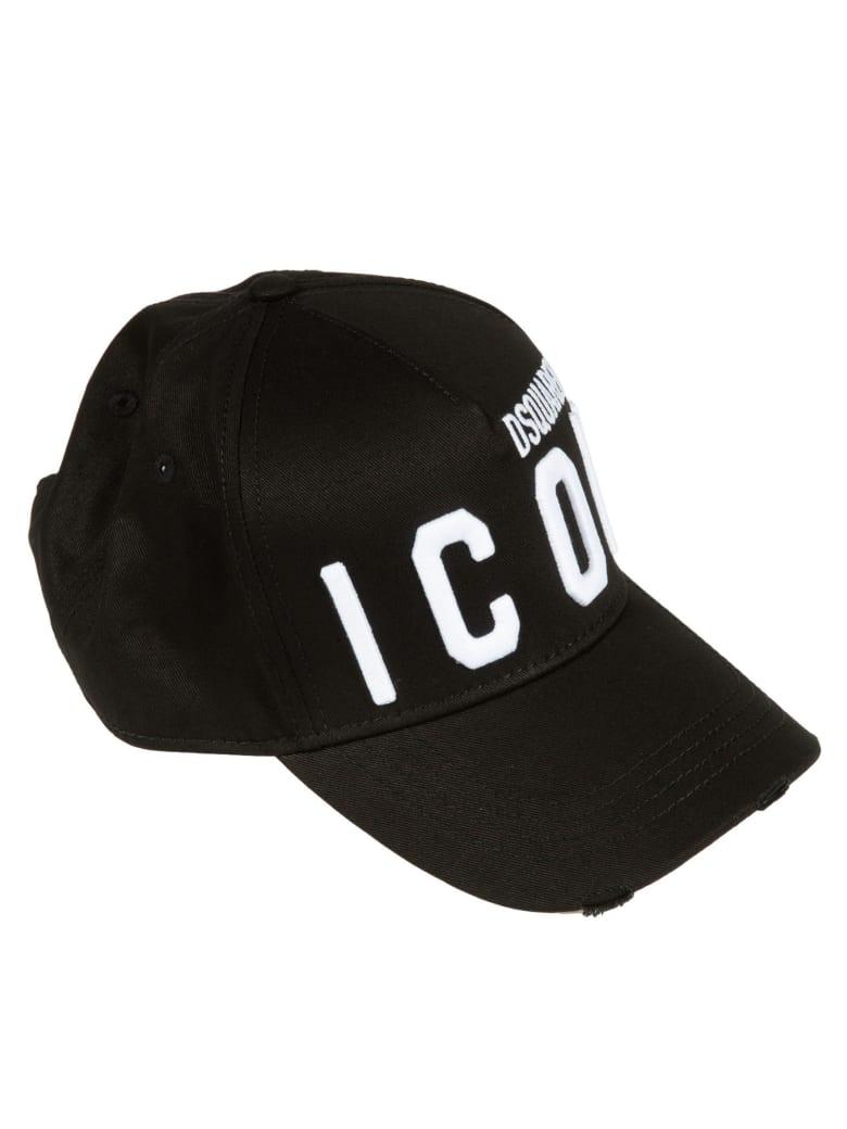 Dsquared2 Icon Embroidered Baseball Cap - Black/White