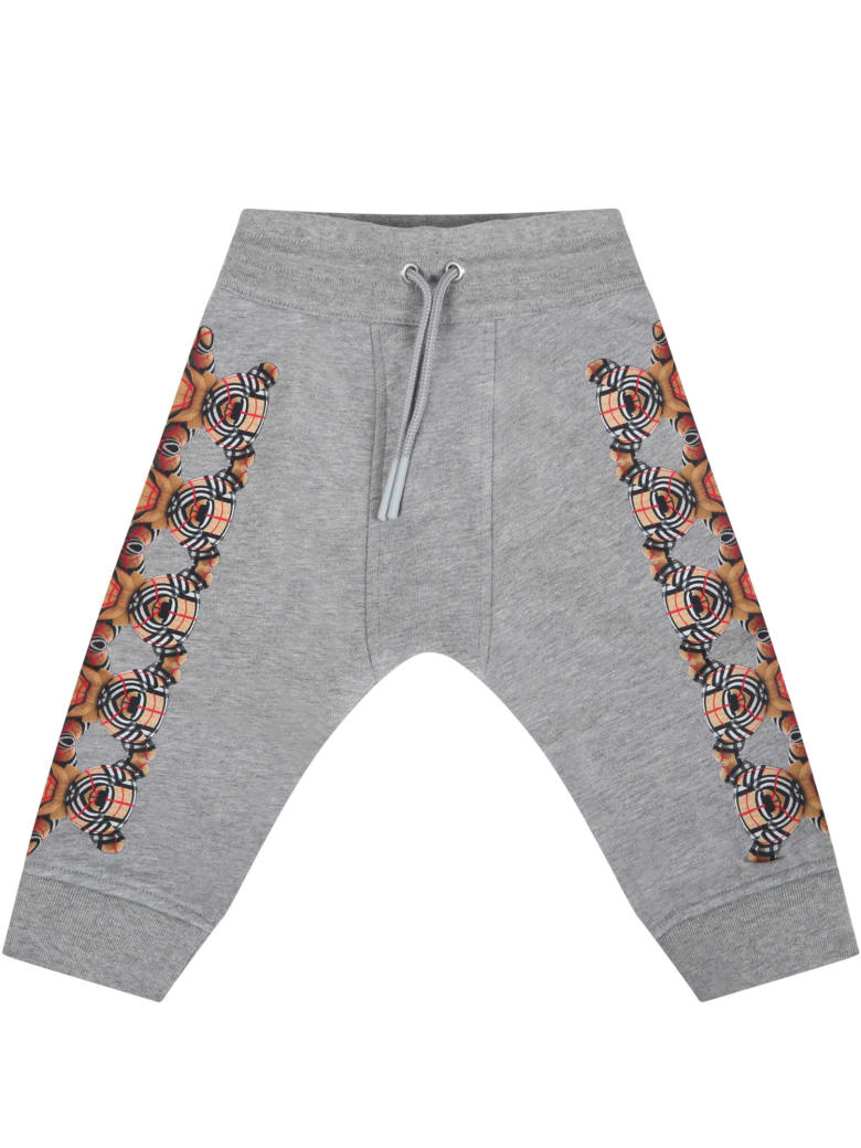 Burberry Grey Sweatpant For Baby Kids With Bears - Grey