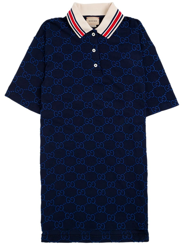 Gucci Blue Gg Cotton Polo Shirt With Contrasting Collar - Blu