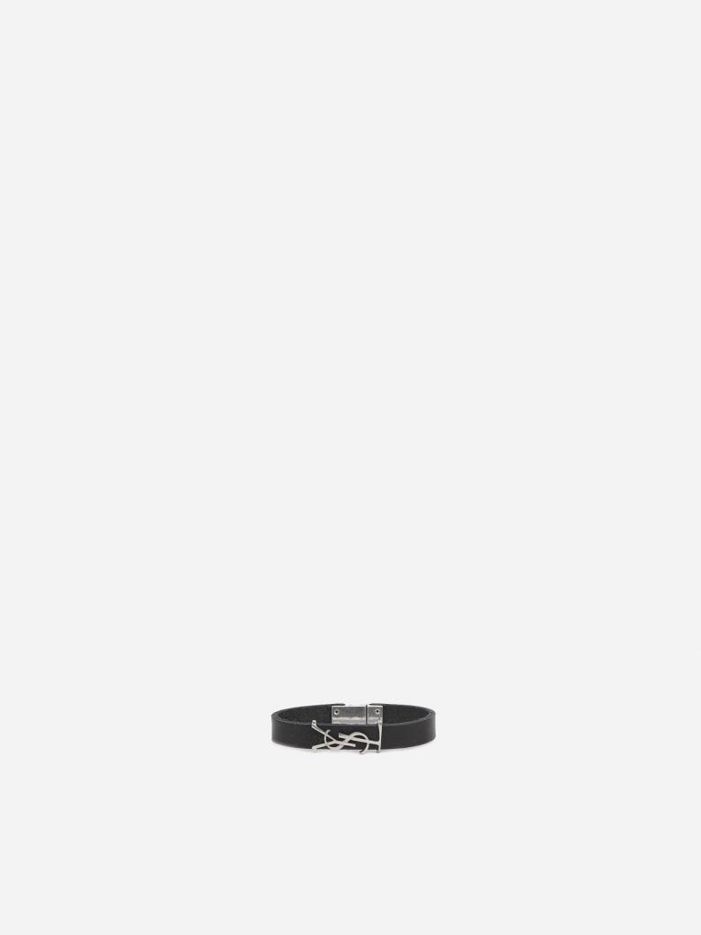 Saint Laurent Opyum Black Silver Leather Bracelet - Black