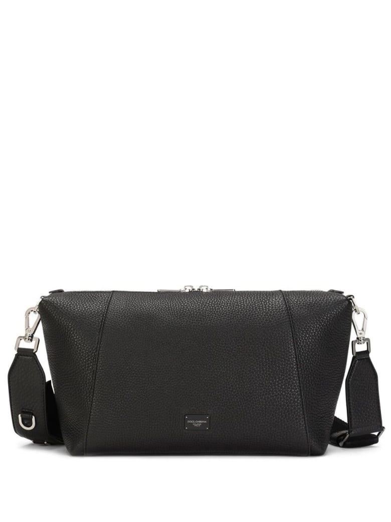 Dolce & Gabbana Palermo Crossbody Bag In Black Leather With Logo - Black