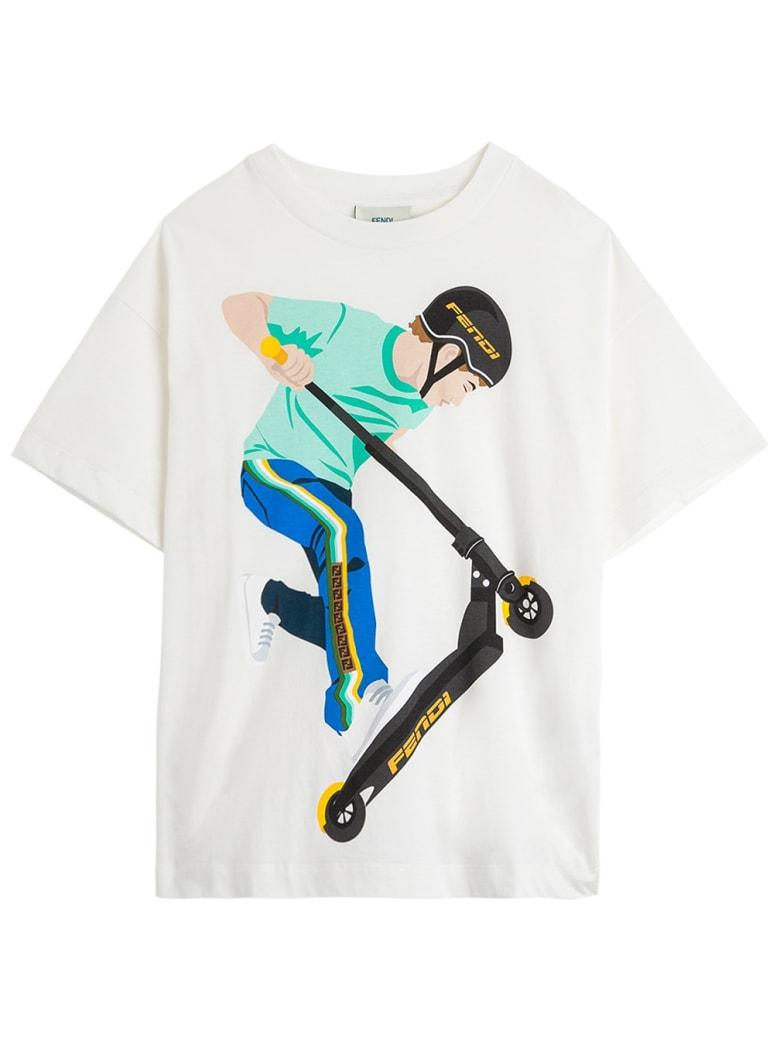 Fendi Mas Jersey T-shirt With Print - White