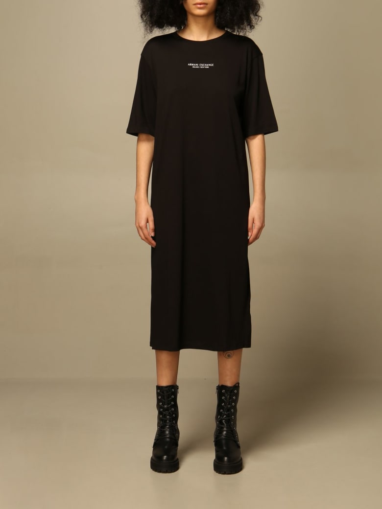 Armani Collezioni Armani Exchange Dress Armani Exchange Midi Dress With Logo - Black