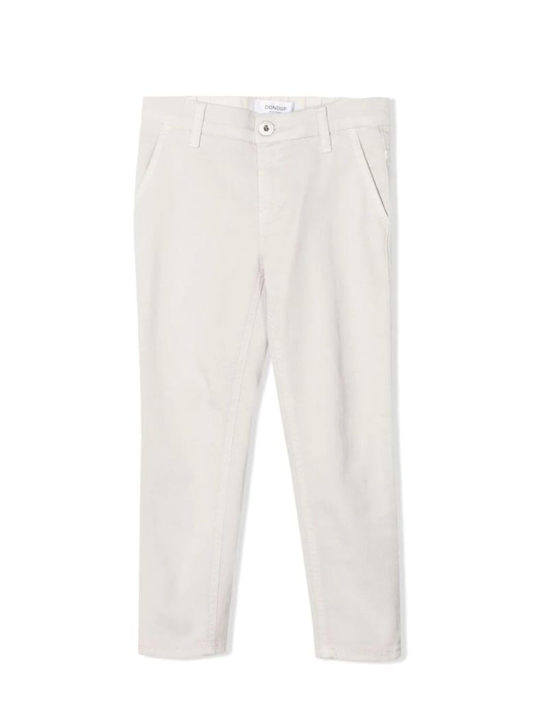 Dondup Off-white Cotton-blend Trousers - Tortora