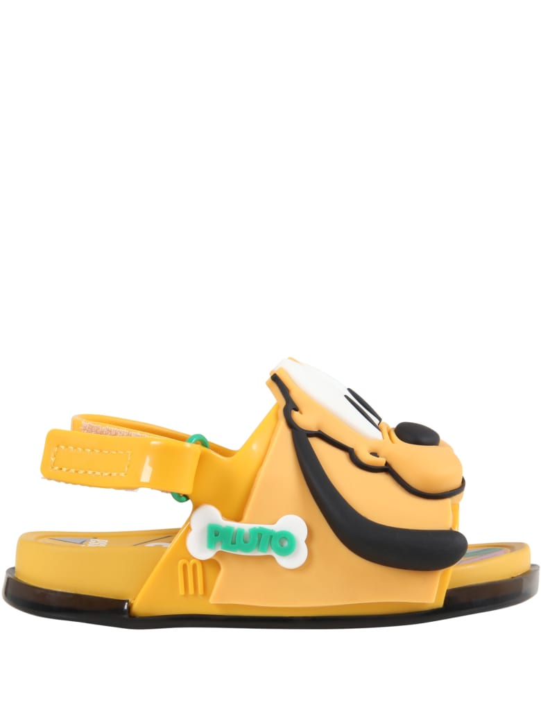 Melissa Orange Sandals For Kids With Pluto - Yellow