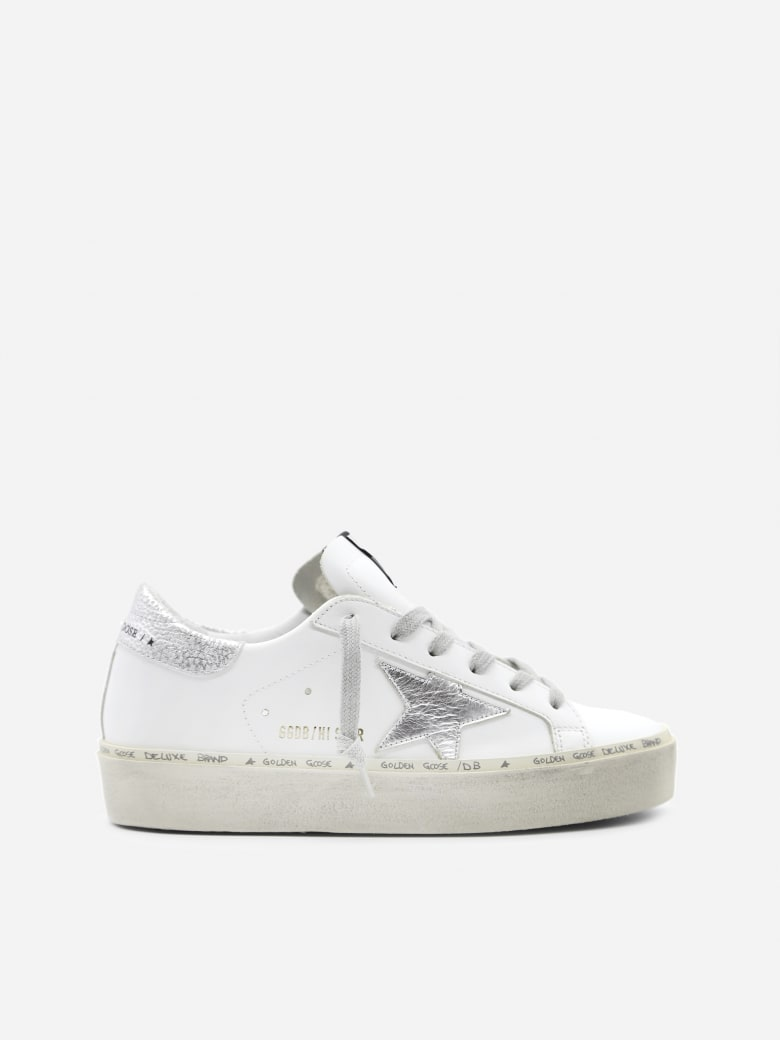 Golden Goose Hi Star Sneaker In Leather With Laminated Effect Inserts - White/silver