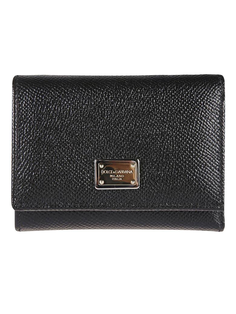 Dolce & Gabbana Logo Plaque Snap Buttoned Wallet - Nero