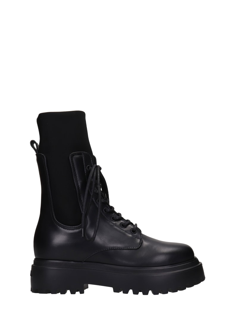 Le Silla Combat Boots In Black Leather - black