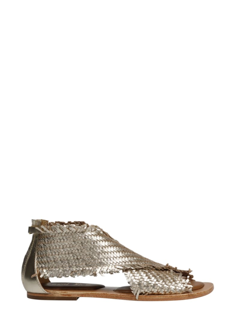 Coral Blue Woven Leather Sandals - Metallic