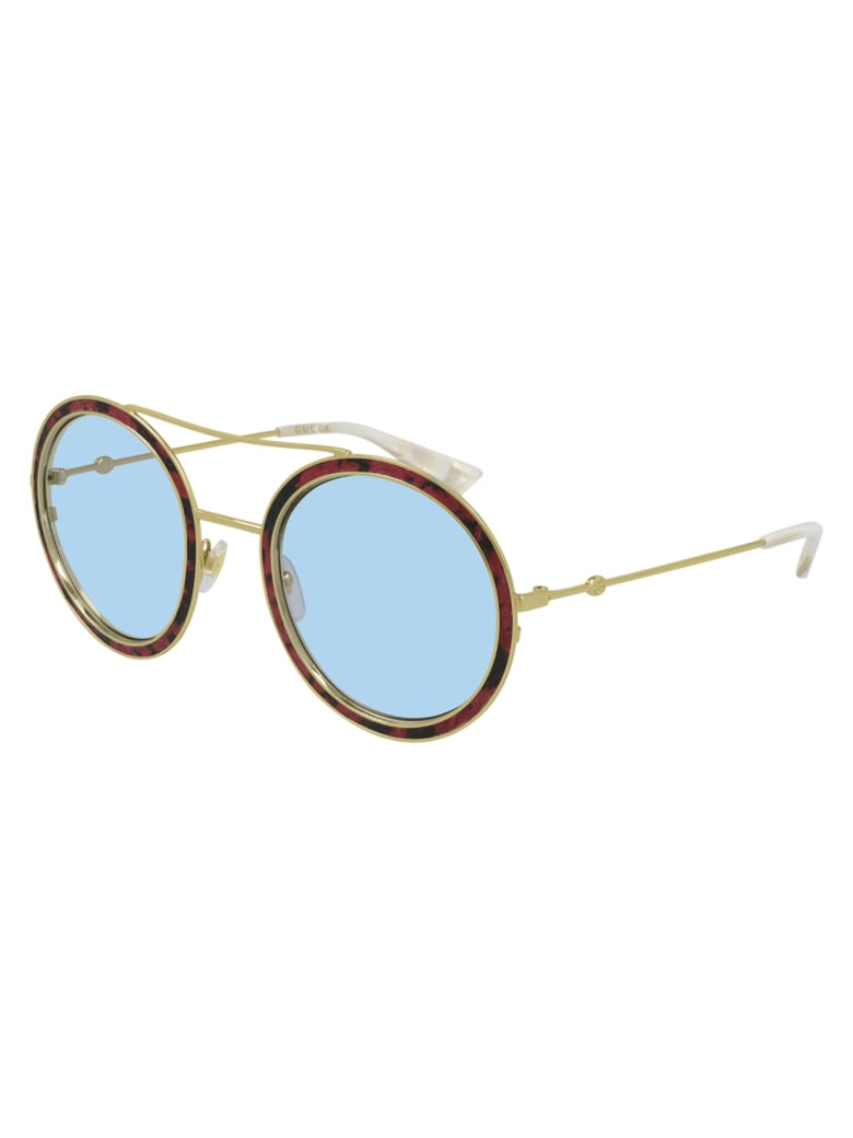 Gucci GG0061S LEATHER Sunglasses - Red Gold Light Blue