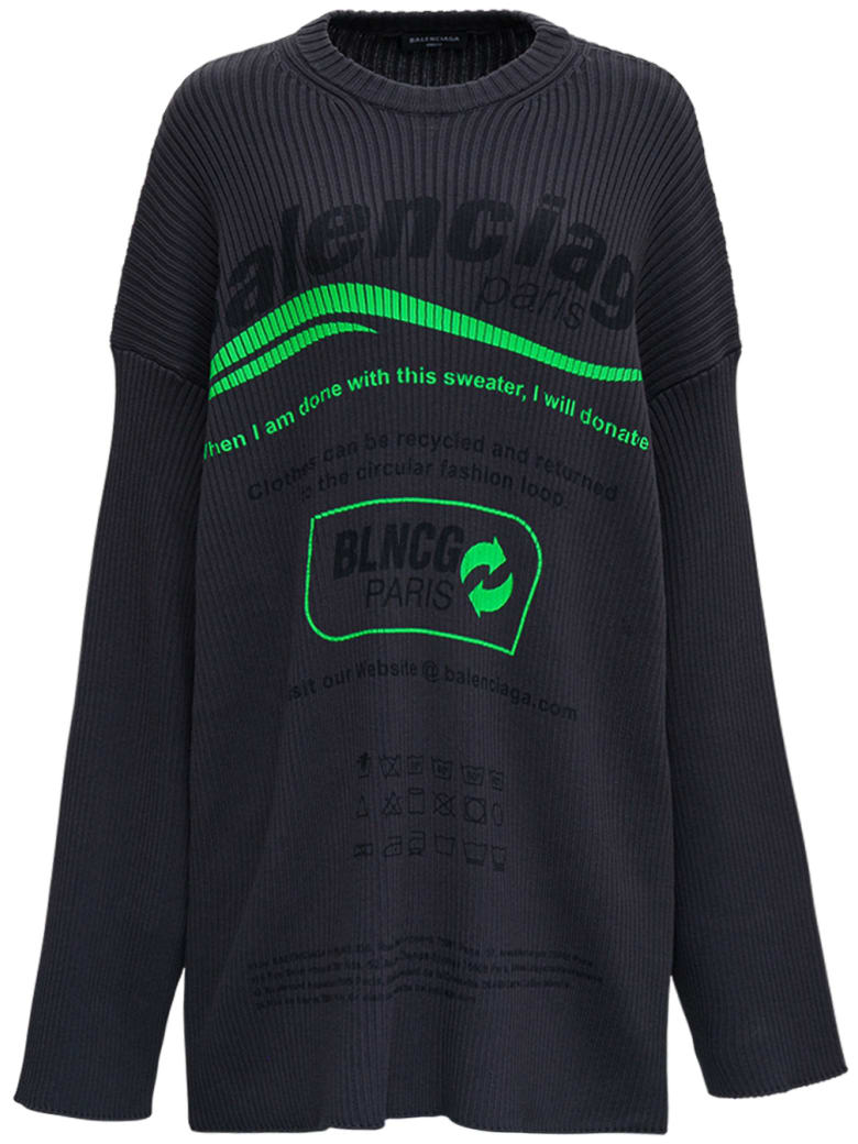 Balenciaga Oversize Ribbed Knit Sweater With Print - Black