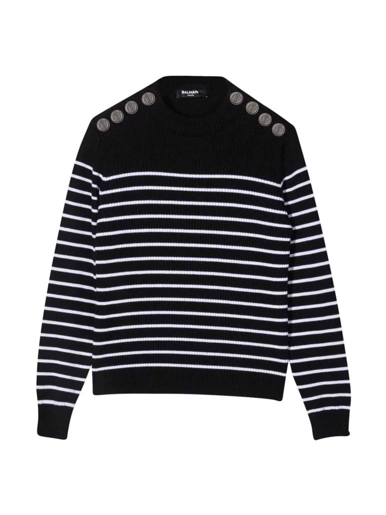 Balmain Unisex Striped Sweater - Nero/bianco