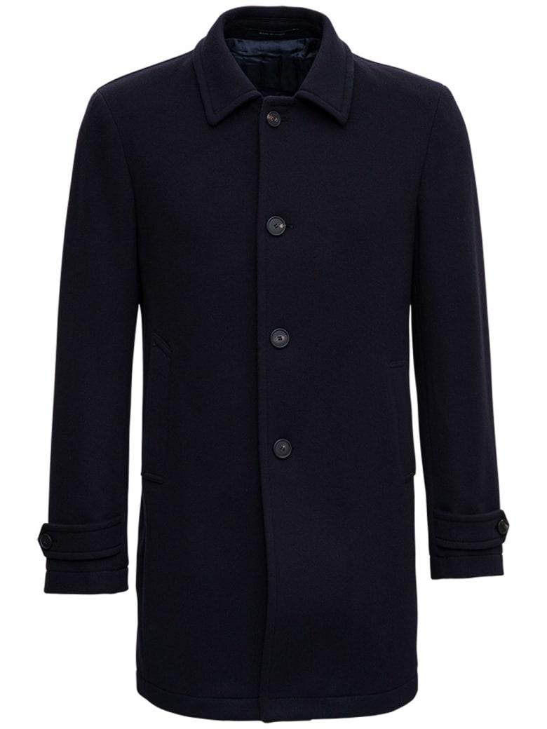 Tagliatore Single-breasted Coat In Blue Wool - Blu