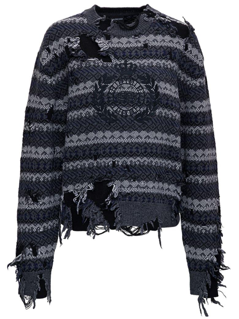 Balenciaga Destroyed Sweater In Wool Blend - Grey
