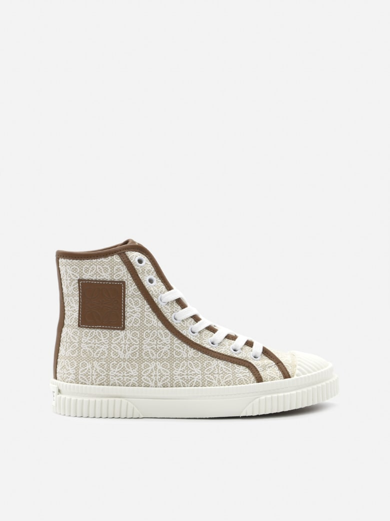 Loewe High Top Sneakers In Cotton Canvas With All-over Anagram Print - Natural