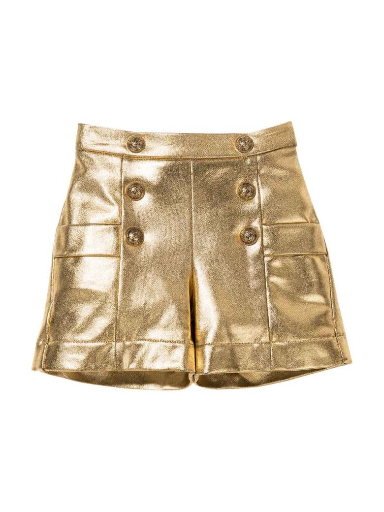 Balmain Gold Bermuda Shorts With Buttons
