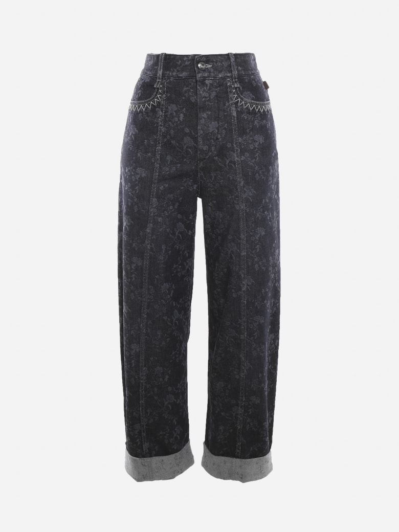 Chloé Printed High-waisted Wide Leg Jeans - Obscure grey