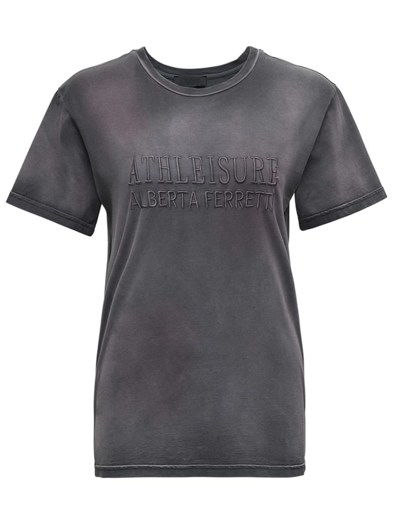 Alberta Ferretti Cotton T-shirt With Logo - Grey