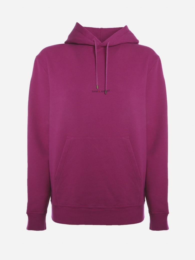 Saint Laurent Cotton Sweatshirt With Logo Print - Fucsia
