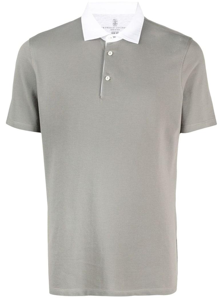 Brunello Cucinelli Grey Cotton Polo Shirt - Fango