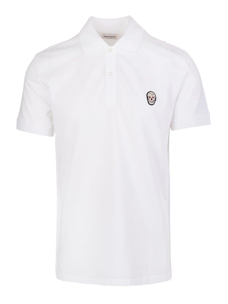 Alexander McQueen Man White Skull Patch Polo Shirt - White