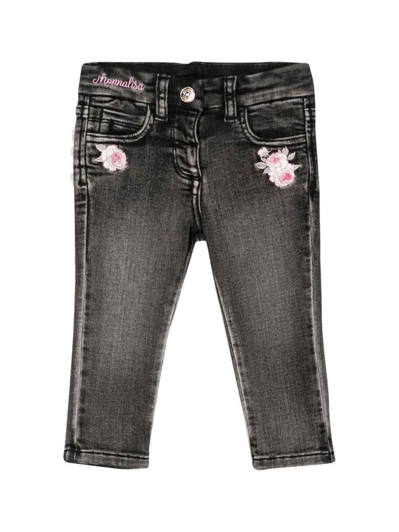 Monnalisa Black Jeans In Denim - Denim