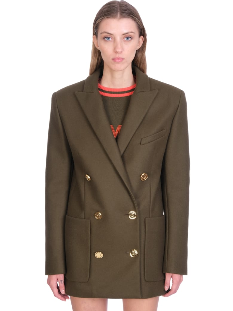 Balmain Outerwear In Green Wool - green