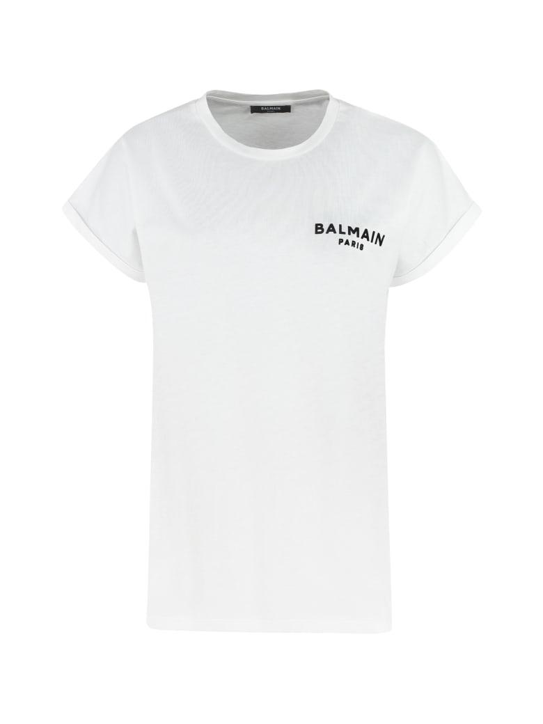 Balmain Logo Cotton T-shirt - Bianca