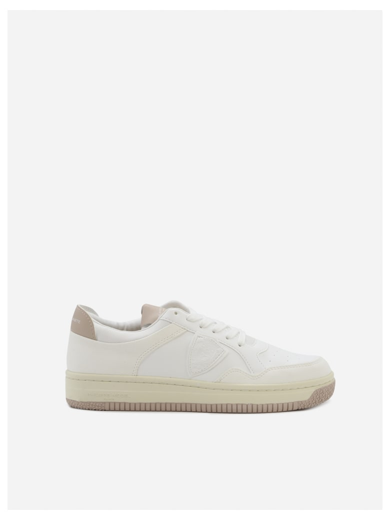 Philippe Model Lyon Sneakers In Cotton Blend With Contrasting Heel Tab - White