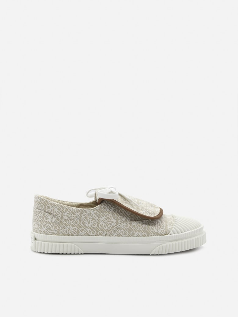 Loewe Cotton Canvas Sneakers With All-over Anagram Print - Natural