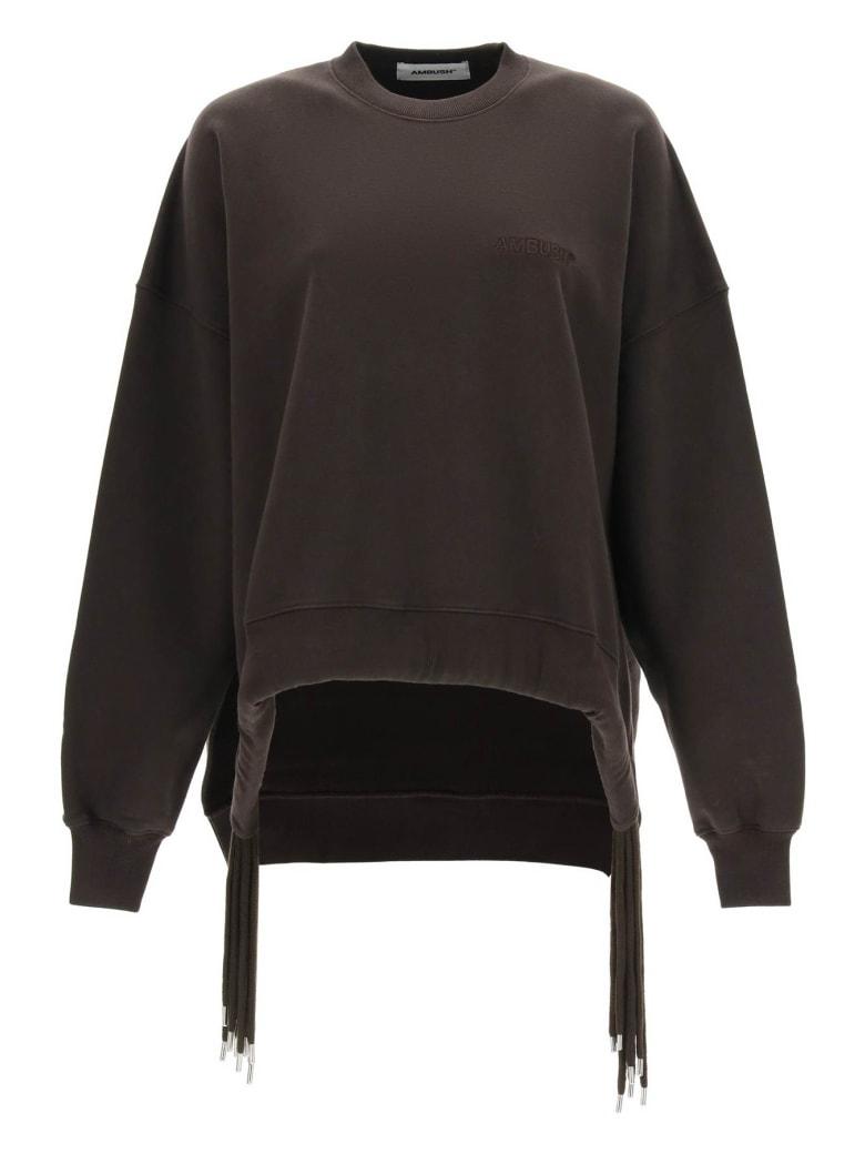 AMBUSH Oversized Sweatshirt With Multi Drawstring - CHOCOLATE