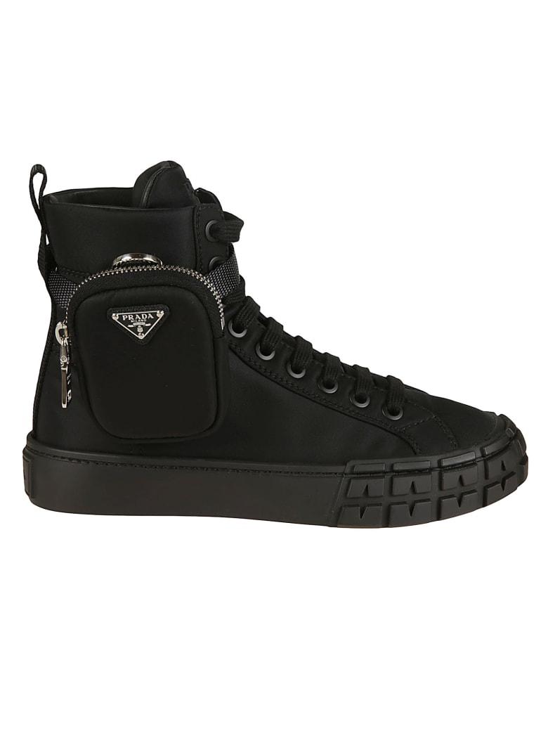 Prada Pouch Applique Lace-up Ankle Boots - Black