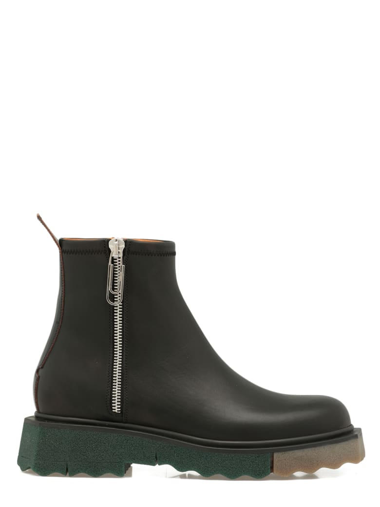 Off-White Smooth Leather Boot - BLACK BLACK