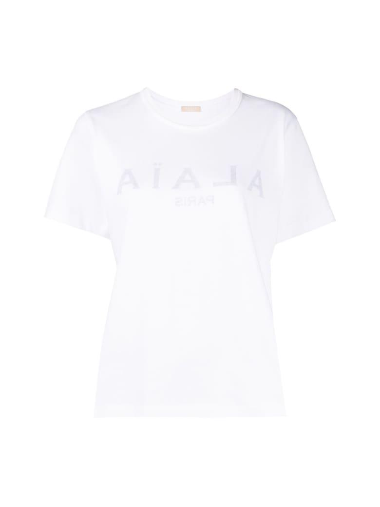 Alaia Jersey De Coton - Tee-shirt Mc - Blanc Noir