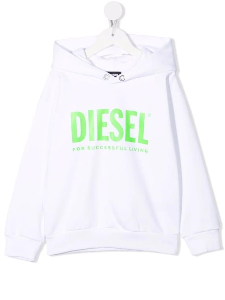 Diesel Kids White Hoodie With Fluo Green Oversize Logo