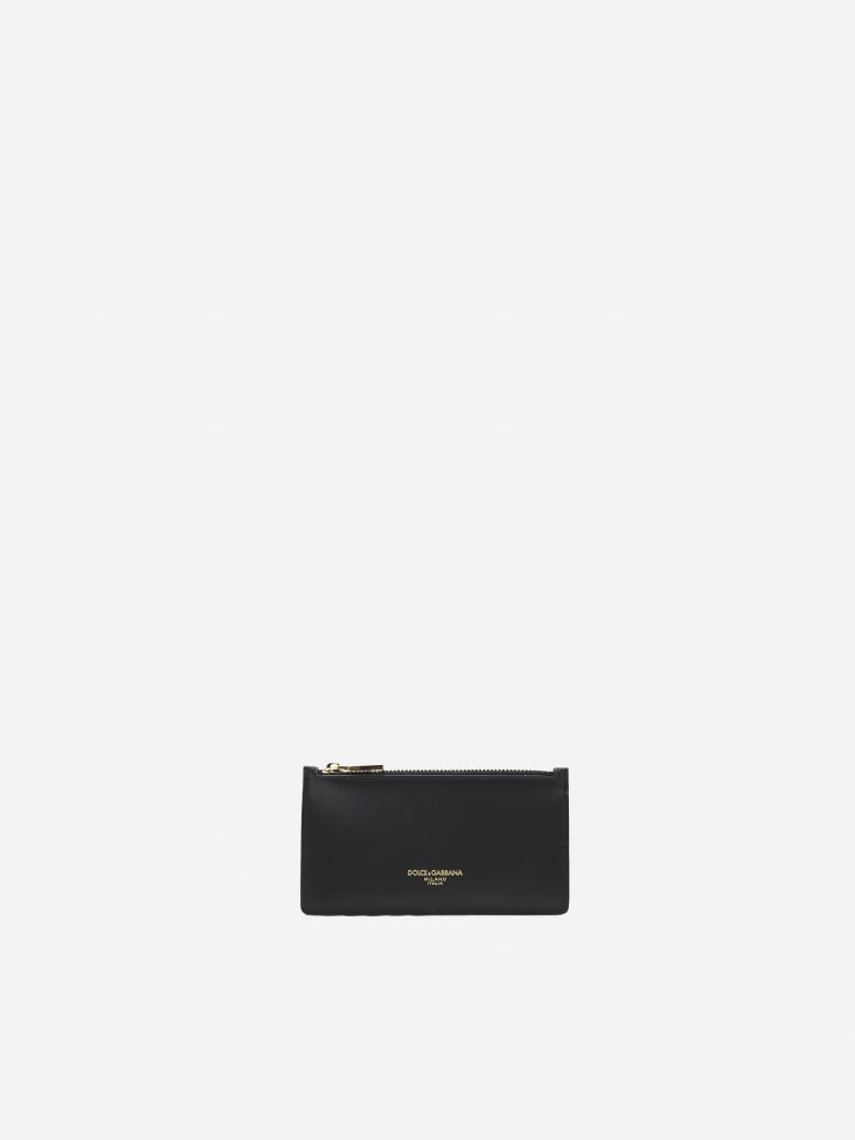 Dolce & Gabbana Leather Card Holder With Contrasting Logo Detail - Black