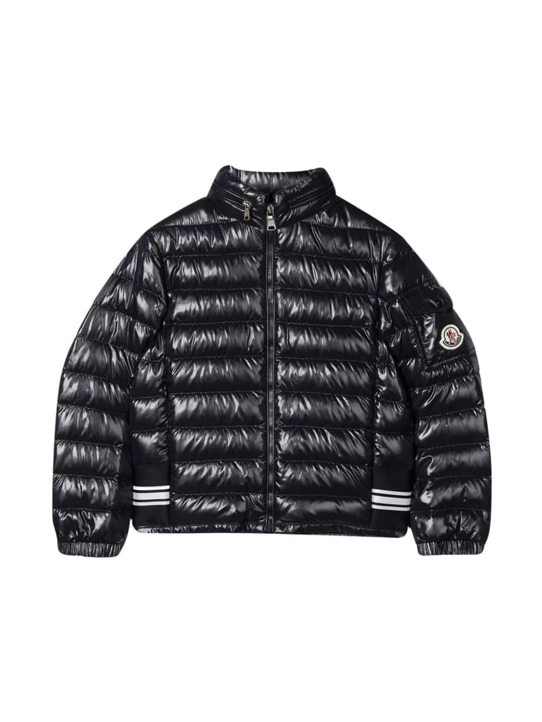 Moncler Shiny Down Jacket With Logo Patch - Unico