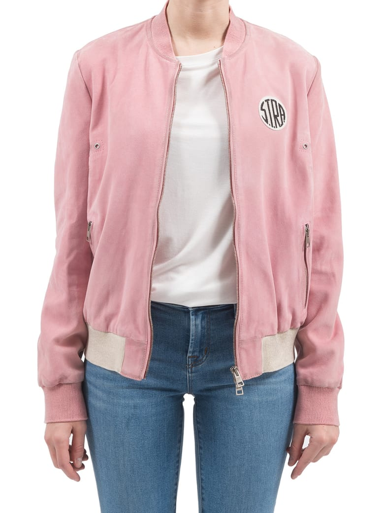 S.T.R.A. - Suede Bomber Jacket - Pink