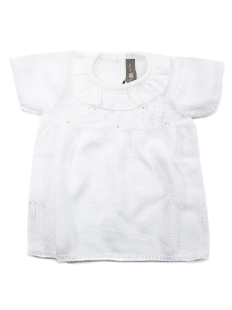 Little Bear White Cotton Dress - Bianco+fango