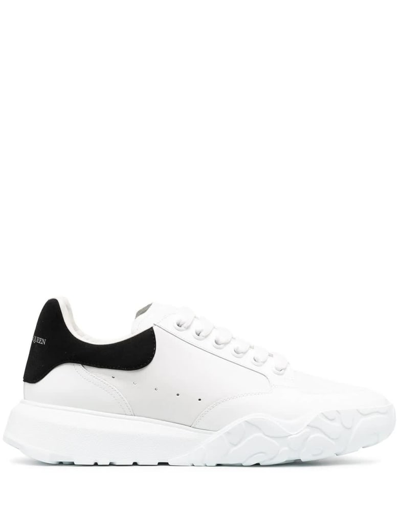Alexander McQueen Man White Court Sneakers With Black Suede Spoiler - Opt.white/black