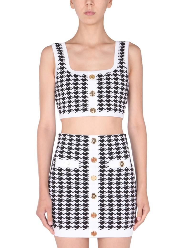 Balmain Knitted Top - Bianco/nero
