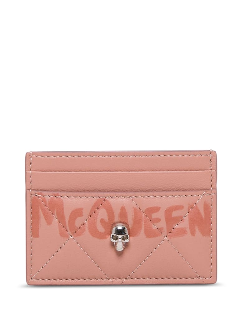 Alexander McQueen Pink Leather Card Holder With Logo - Pink